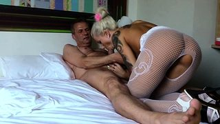 Old Guy Fuck Young German Teen in Lingerie and Cum Fast